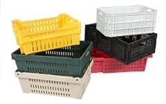 group of different colored handheld plastic crates