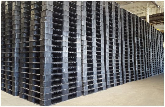 Panda 43x43 Plastic Pallets Stacked and Ready to Ship