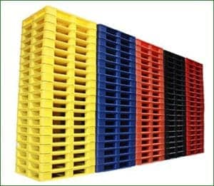 Variety of Different Colored Snap Lock Plastic Pallets