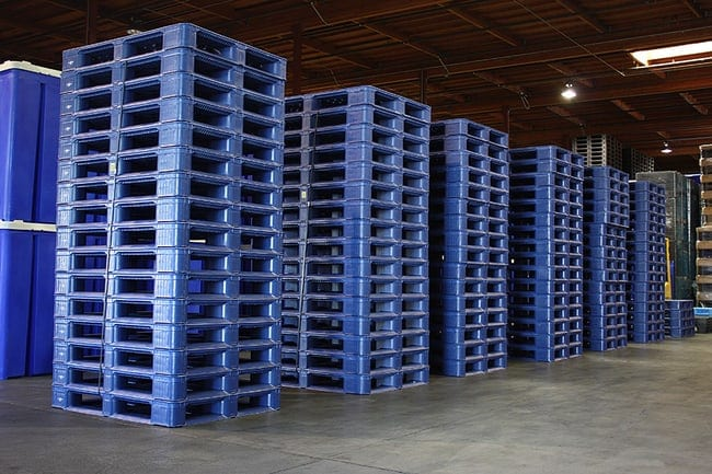 Snap Lock Plastic Pallets Stacked and Ready to Ship