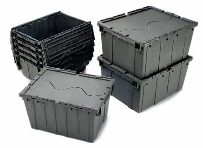 406001 Attached Lid plastic storage totes stack and nest