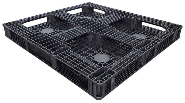Bottom of 48x44 Black Stackable Plastic Pallet