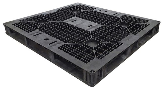 48x44 Black Stackable Plastic Pallet