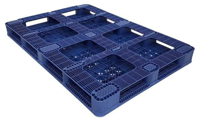 Bottom of 70x48 Stackable Blue Plastic Pallet