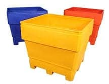 different colored plastic bins