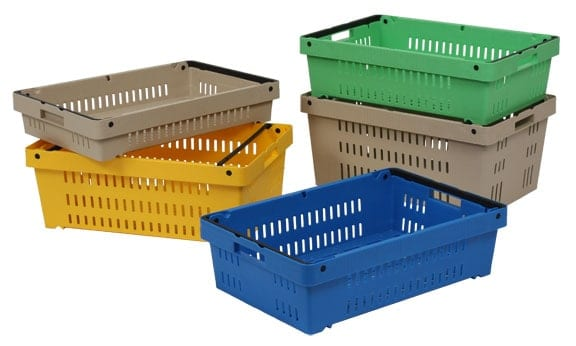 Group of Versacrate handheld plastic crates stack and nest within each other regardless of size