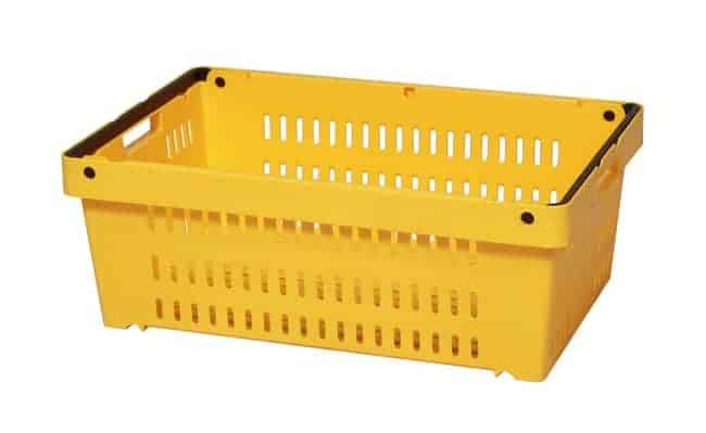 Yellow Versacrate 8.5 handheld plastic stack and nest crate