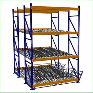 A clear layout of a flow racking system