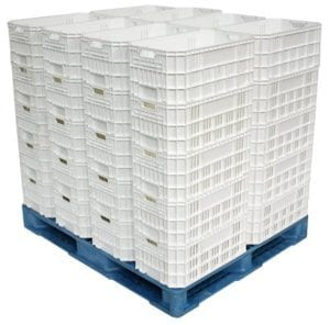 Valley Blue 48x40 Plastic Pallets Loaded with Harvest Crates