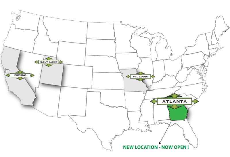 TranPak Locations on US Map featuring Atlanta